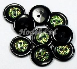 KNO89  1 x Leuke Zwarte knoop met glimmertjes  ca. 20mm