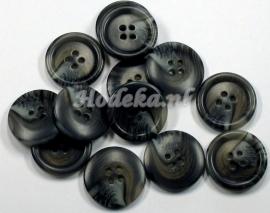 KNO62  1 x  Prachtige Gemêleerde Grijs, Antraciet en Beige knoop ca. 25 mm