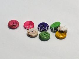 NSD20  8 x kraal Plat rond van steen mix kleuren ca.3 x 10 mm