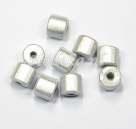 MIT08/09  8 X miracle beads Tube ca 8mm Wit