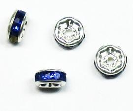 MTS06  5 x Metalen kraal met strass Donker Blauw 6 x 3 mm