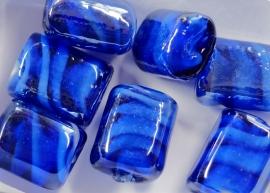 GLS04   5 x  Glaskraal Rechthoek Donker Blauw 15mm