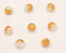 GLR36   8 x Glaskraal Crackle Rond Oranje / Transparant