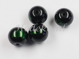 GLR47a  25 x glaskraal rond Groen / Zwart  10mm