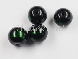 GLR47  8 x glaskraal rond Groen / Zwart  10mm