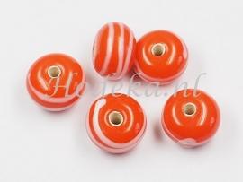 GLP12   1 x Glaskraal Rondel Oranje wit 8 x 12 mm