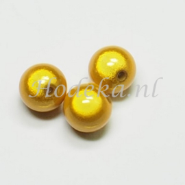 MIR14/04  4 X miracle beads Geel  ca. 14mm