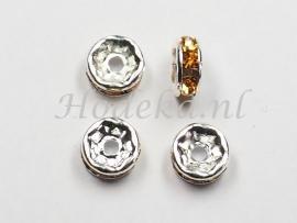 MTS14  5 x Metalen kraal met strass Goud/Bruin 6 x 3 mm