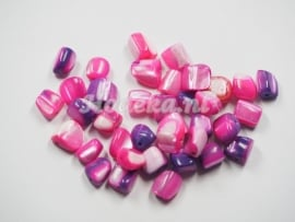 SCH23  20 x Schelp Stukjes Roze ca. 7 x 6 mm