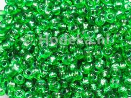 CRP08/18a  50 gram Preciosa Rocailles 8/0 Groen silverlined