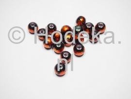 GLR41a 25 x glaskraal rond Oranje / zwart  10mm