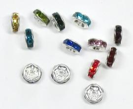 MTS11    50 x metalen tussen kraal  met een kleuren mix van strass steentjes  ca. 6 x 3 mm