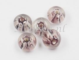 GLP14   1 x Glaskraal Rondel Aubergine wit 8 x 12 mm