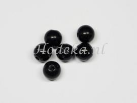 ACP08/12a   100 x acryl kraal rond 8mm  Zwart