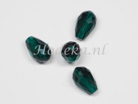 FCT15/09  5 x Facet glaskraal Druppel Donker (zee) Groen 15 x 10mm