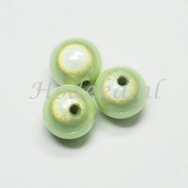 MIR14/05  4 X miracle beads Licht Groen  ca. 14mm