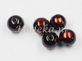 GLR46a  25 x glaskraal rond Bruin/ Zwart  10mm