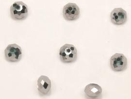 FCT08-04  10 x Facet geslepen glaskraal Rondel Zilver  6x8mm