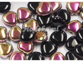 CZH01   10 x Tsjechische Glaskraal Hart 7mm Zwart / Goud / Roze