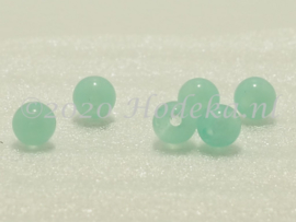ACP06/10a   100 x acryl kraal rond 6mm Gemêleerd Licht Groen