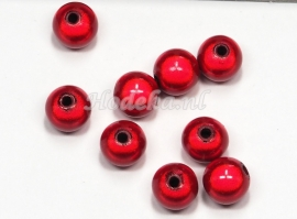 MIR10/01  8 X miracle beads Rood  ca. 10mm