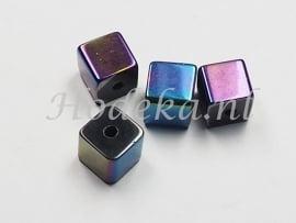 GLV08 8 x Glaskraal Vierkant Olie kleuren  8 mm
