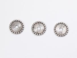 MTL07   6 x metalen kraal Plat Rond  spacer 11mm Antiek Zilver