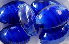 OVG10   5 x Glaskraal Ovaal Donker Blauw 25 x 18mm
