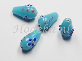 GKD09   4 x Glaskraal druppel Blauw ca. 19 x 11mm