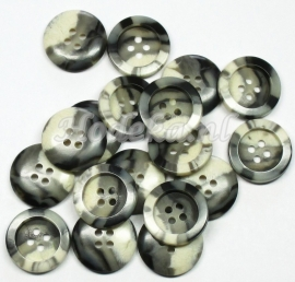 KNO46  1 x gemêleerde knoop Grijs, Beige en Donker bruin ca. 19 mm