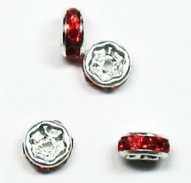 MTS09  5 x Metalen kraal met strass Rood 6 x 3 mm