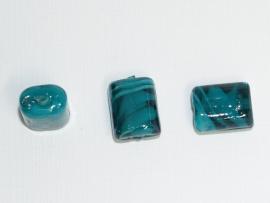 GLS05   5 x  Glaskraal Rechthoek Petrol 15 mm