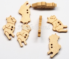 KNO133a  5 x Houten knoop Winnie the Pooh ca. 26 x 14 mm