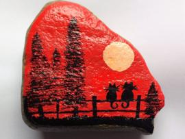 HPS06 Hand painted Happy stone by Hodeka.nl Poezen op hek