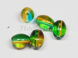 OVG30   14 x Glaskraal Ovaal Groen, Oranje/Bruin 9mm