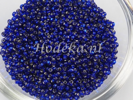 CRP11/42  12 gram Preciosa Rocailles 11/0 Donker Blauw silverlined