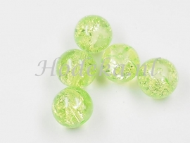 GLR53   8 x Glaskraal Crackle licht Groen 10mm