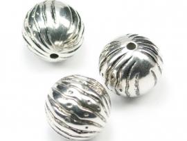 MLK10   3 x  Metallook kraal Rond 20mm antiek zilver