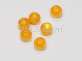 ACP08/32   10 x acryl kraal rond 8mm Cats eye Oranje