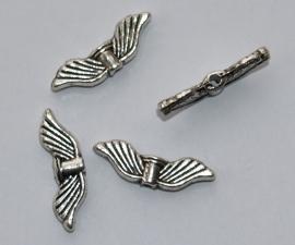 MTV08  4 x metalen Vleugel Antiek Zilver 20 x 6 mm