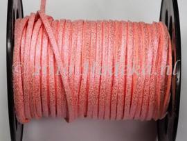 BSV47  1 meter imitatie Suede Veter Roze Glitter 3mm