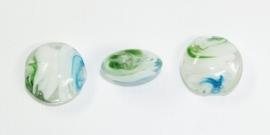 PLR06  3 x Glaskraal Plat Rond Groen, Wit en Blauw 20mm