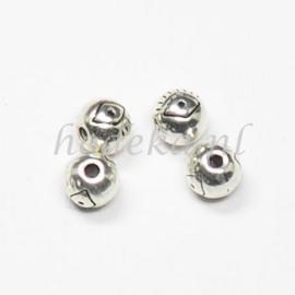 MTL71   12 x metalen kraal  6 mm Zilver