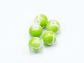 ACP10/11   10 x Acryl kraal rond 10mm Groen/Wit