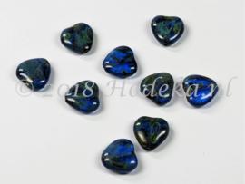 CZH08   8 x Tsjechische Glaskraal Hart 10mm Blauw