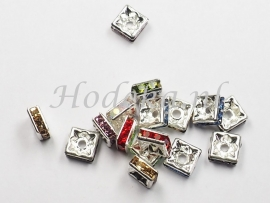 MTS17  10 x Metalen kraal  met Strass Mix Vierkant 6 x 3 mm