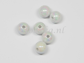 ACP08/08   20 x acryl kraal rond 8mm  Wit met parelmoer glans