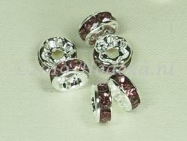 MTS31  4 x Metalen kraal met strass Paars 8 x 3.5 mm