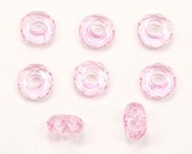 ACR15/08   5 x acrylkraal rondel ca. 8 x 15mm Roze
