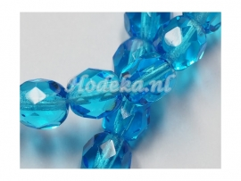CZF17  12 x Tsjechische Glaskraal Facet geslepen Ovaal6mm Blauw